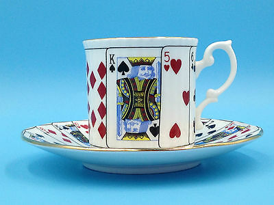Cut for Coffee Elizabethan Staffordshire Bone China Playing Card Cup/Saucer VGC!