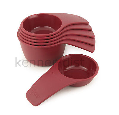 Tupperware Measuring Cups 6-piece Set in Bordeaux Red - NEW!