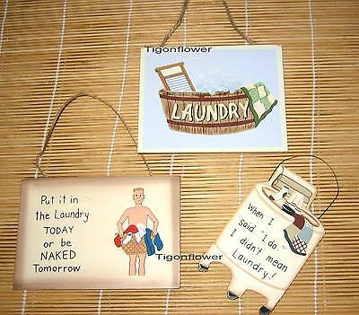 3 Pieces Set Country Primitive Decor Wood Cut Out Sign LAUNDRY ROOM