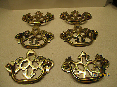 "6 Vintage Solid Polished Brass Chippendale Style Drawer Handles  3"" on center"