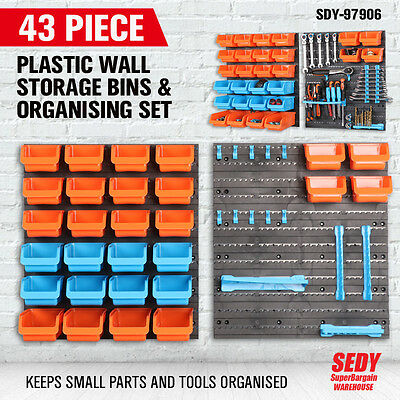 43 Piece Wall-Mounted Tool Parts Garage Storage Bin Rack Unit Shelving Organizer