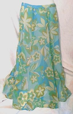 Womens lng SKIRT Size S COLDWATER CREEK FLAT Frnt Aline Blue Floral poly Lined