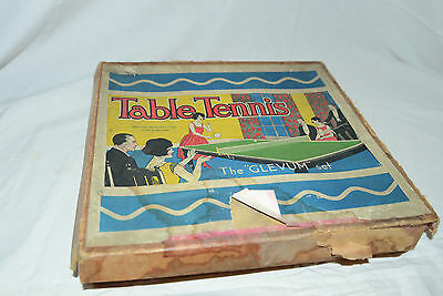 """Vintage, Antique """"Glevum"""" Table Tennis, Ping Pong Set, Game, Paddles, Ball, Net"""