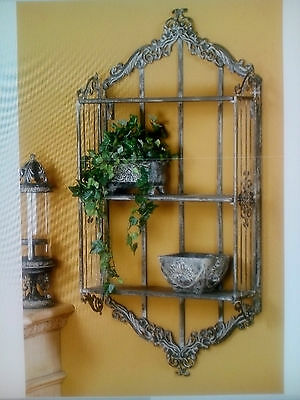 Stunning French Provincial Large Grey Metal Wall Shelf