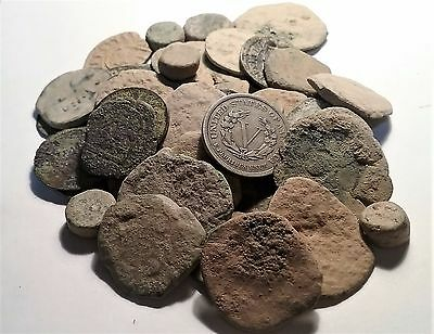 (5) Raw Spanish Colonial Pirate Treasure Time Cobs For You Clean And Identify