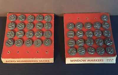 "Vintage Numbered Window Marker Tacks ""Acro"" Numbering Tacks - New Old Stock"