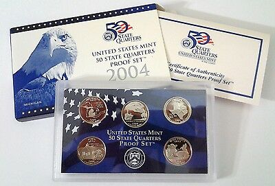 2004-S State Quarter Proof Set - With Box & COA
