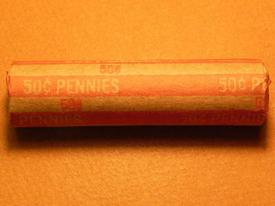 Old Bank Roll of Lincoln Wheat Pennies From Estate Sale Lot #1