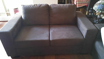 Sofa 2 seater couch - Brown Suade (As new)