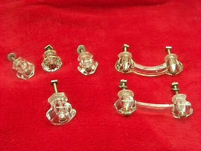 Vintage Glass Cabinet Knobs -4/handles - 2 , 6 In All