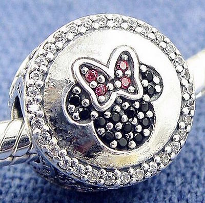 MINNIE MOUSE SPARKLE 925 Sterling Silver Solid European Charm Bead for Bracelet