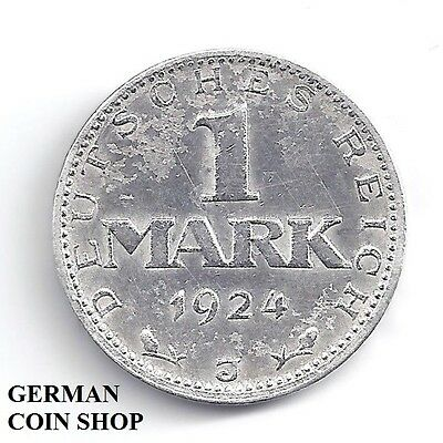 Germany Weimar 1 Mark 1924 J  - SILBER