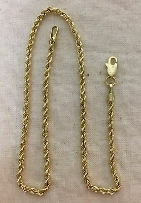 """10k Gold Vintage """"Diamond Cut"""" Rope Ankle Chain - 10"""""""