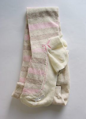 Girls Tights Beige Striped Age 13 Years