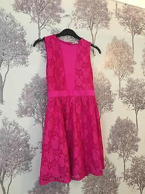 River Island Beautiful Girls Deep Pink Sparkly Dress Age 11-12 Years 'Christmas'