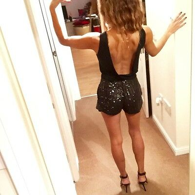 Black Sequin Playsuit By ASOS Unique Backless Plunge Forever NYE Christmas S 8