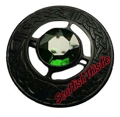 "Men's Scottish Kilt Fly Plaid Brooches Green Stone Jet Black 3""/Celtic Brooches"
