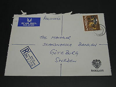 Zambia 1971 registered airmail cover to Sweden corner fold *14961