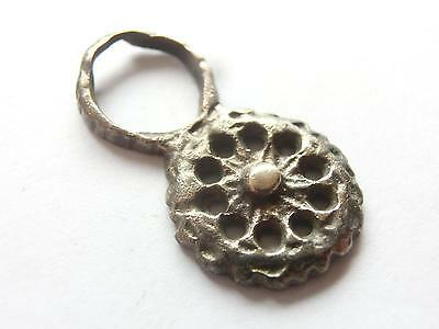 Excellent SUN Symbol ~ VIKING ERA ~ Silver AMULET / PENDANT ~ Wearable Artifact