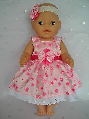 "Dolls clothes  for 17"" Baby Born  doll~PINK TAFFETA FLORAL DRESS~ HAIR BOW"