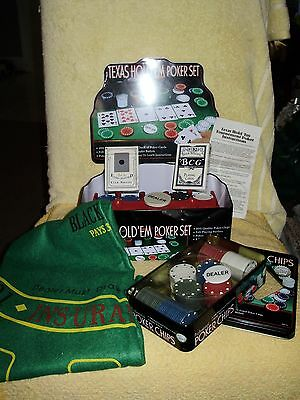 Texas Holdem Professional Poker Set in Tin, Cards,Chips, Rack, Playing Cloth