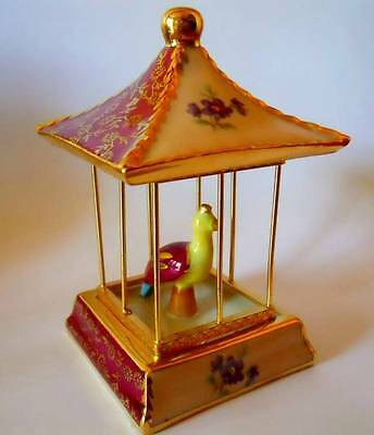 Rare French Limoges Porcelain Miniature  Bird In A Cage, Limoges France