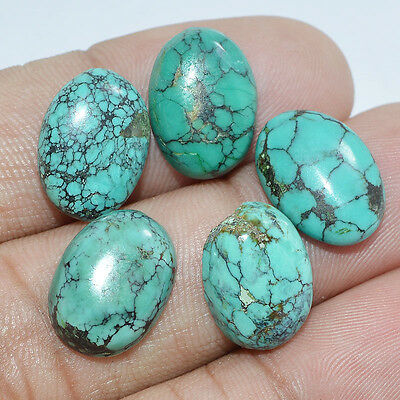 21.60 Cts NATURAL TIBETAN TURQUOISE OVAL CABOCHON WHOLESALE LOT-5PCS GEMSTONES