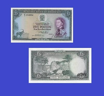 Rhodesia, Reserve Bank - $ 5 , 1964. UNC - Reproduction