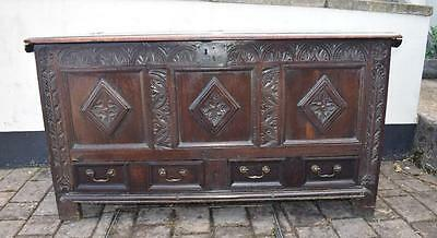 Large Antique Carved Oak Mule Chest  Coffer Blanket Chest FAB!