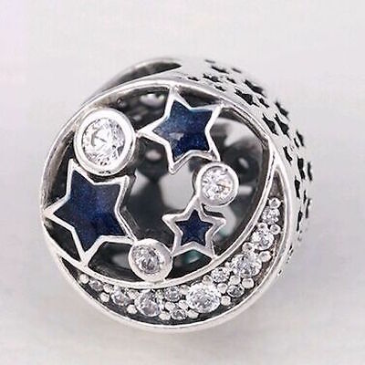 NIGHT SKY 925 Sterling Silver Solid Charm Bead for Bracelet