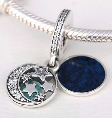 NIGHT SKY DANGLE 925 Sterling Silver Solid European Charm Bead for Bracelet