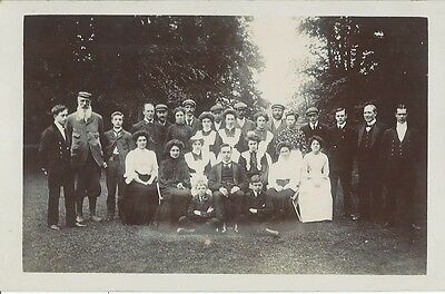 Social History, Edwardian Family And Staff Posed In Garden, Photo Postcard