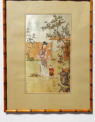 CINA (China): Very fine quality and old Chinese print on silk - painting