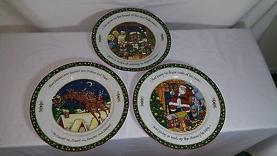 "INTERNATIONAL CHINA ""A Christmas Story"" 3 dinner Plates Susan Winget Portmeirion"