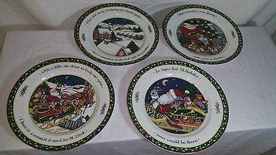 "INTERNATIONAL CHINA ""A Christmas Story"" 4 dinner Plates Susan Winget Portmeirion"