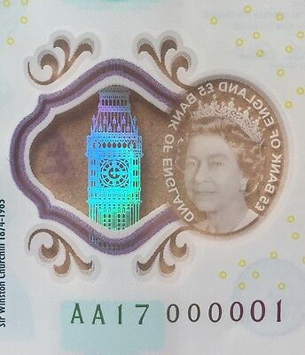 England New £5 Note Polymer Super Unique Low Number AA17 000001 (= AA01 000001)