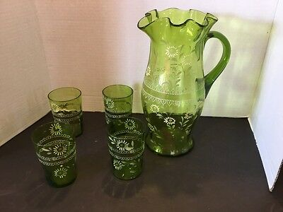 Antique Victorian Hand Painted Blown Glass Green Pitcher & 4 Glasses