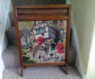 Vintage Hunting Scene Tapestry and Wood Fire Screen.