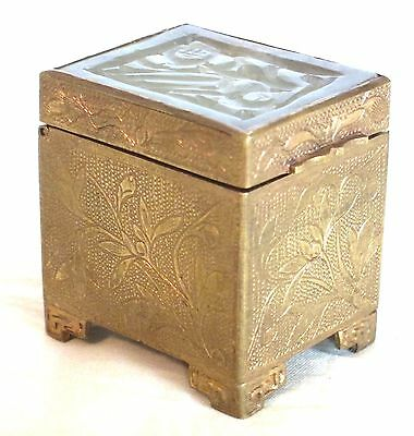 Antique Chinese Gilt Bronze Stamp Box with Carved White Jade Inlay Lid 1920's