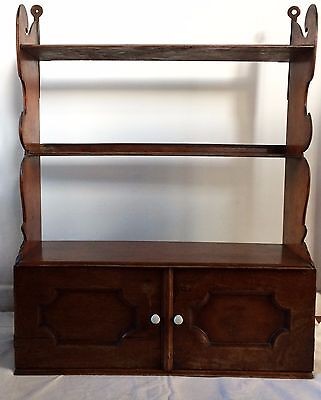 Charming VICTORIAN Carved Mahogany WALL SHELF with Cupboard -73 x 59 cm
