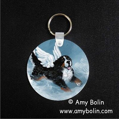 BERNESE MOUNTAIN DOG BMD PLAYFUL ANGEL  key chain  by Amy Bolin
