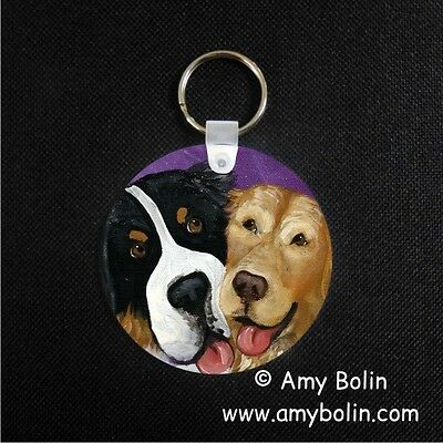 BERNESE MOUNTAIN DOG BMD AND GOLDEN RETRIEVER BE MINE  key chain  by Amy Bolin