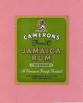 Cameron's, West Hartlepool - Finest Jamaica Rum label - old label - see scan