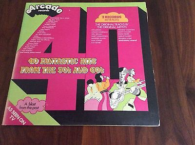"""2* Vinyl LP records:""""40 Fantastic Hits From The 50's And 60's"""" V good condition."""