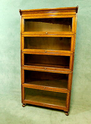 Oak Globe Wernicke Style Five Height Stacking Bookcase