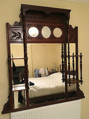 Large Edwardian overmantle mirror- carved- decorative- painting project