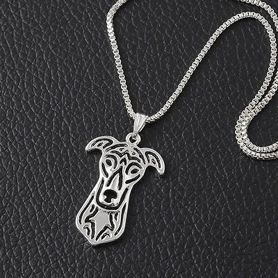 Greyhound, Italian Grehound, Whippet Dog Pendant Necklace - Silver Color