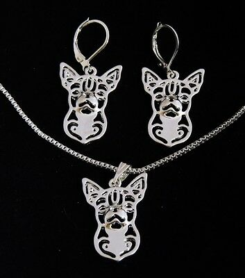 CHIHUAHUA Dog Pendant Necklace & Earring Set - Silver Color