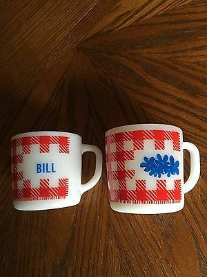 "Federal Milk Glass ""Bill"" Checkerboard Gingham Mugs 1960's"