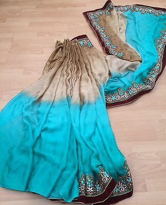 Indian Bollywood Sari Teal / Baige party /weddings